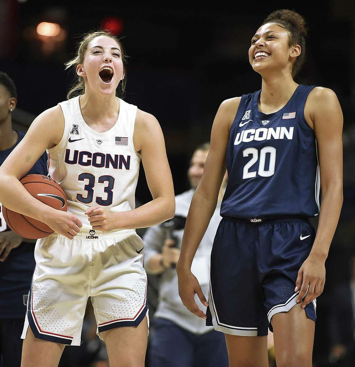 Senior Katie Lou Samuelson and freshman Olivia Nelson-Ododa at UConn First Night. (AP Photo/Jessica Hill)