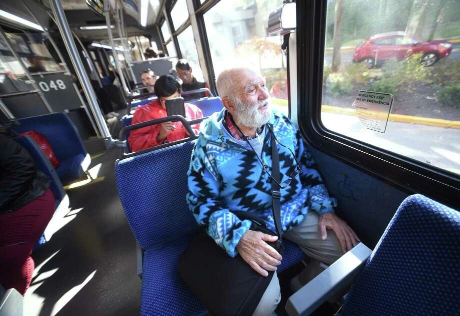 Dennis DeMartin begins his journey on a CT Transit bus at the Bella Vista complex in New Haven. Photo: Arnold Gold / Hearst Connecticut Media / New Haven Register