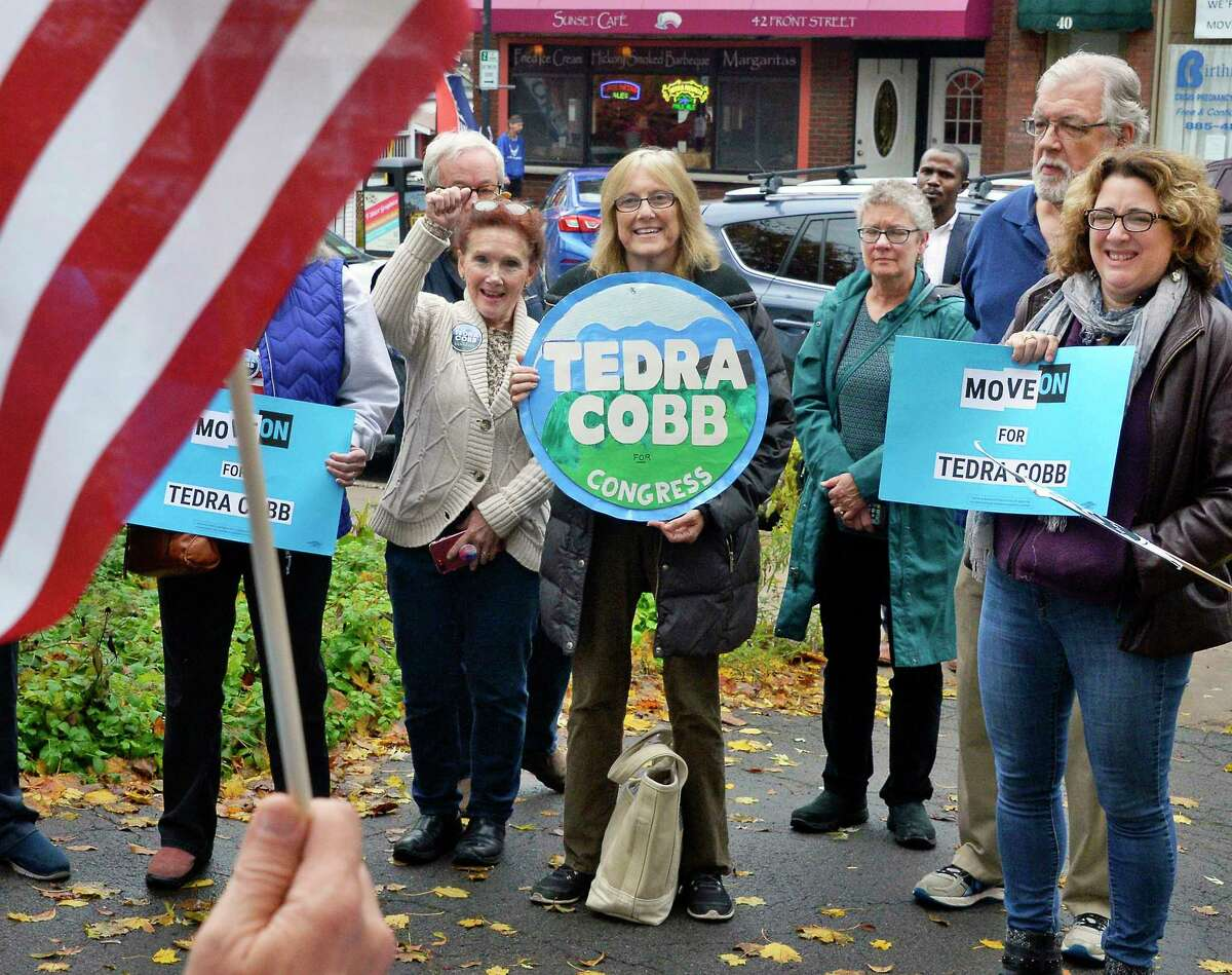 Local voters rally for Tedra Cobb, the Democratic candidate in the 21st Congressional District against GOP incumbent Elise Stefanik at Wiswall Park Friday Nov. 2, 2018 in Ballston Spa, NY. (John Carl D'Annibale/Times Union)