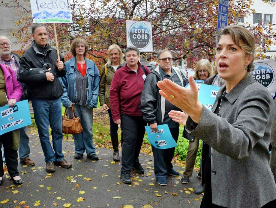 Tedra Cobb, right, the Democratic candidate in the 21st Congressional District against GOP incumbent Elise Stefanik, speaks to voters during a rally at Wiswall Park Friday Nov. 2, 2018 in Ballston Spa, NY.  (John Carl D'Annibale/Times Union) Photo: John Carl D'Annibale, Albany Times Union / 40045375A