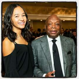 Sydney Brown and her dad, former Mayor Willie Brown at the Willie Brown Institute Breakfast Club. Oct. 30, 2018.