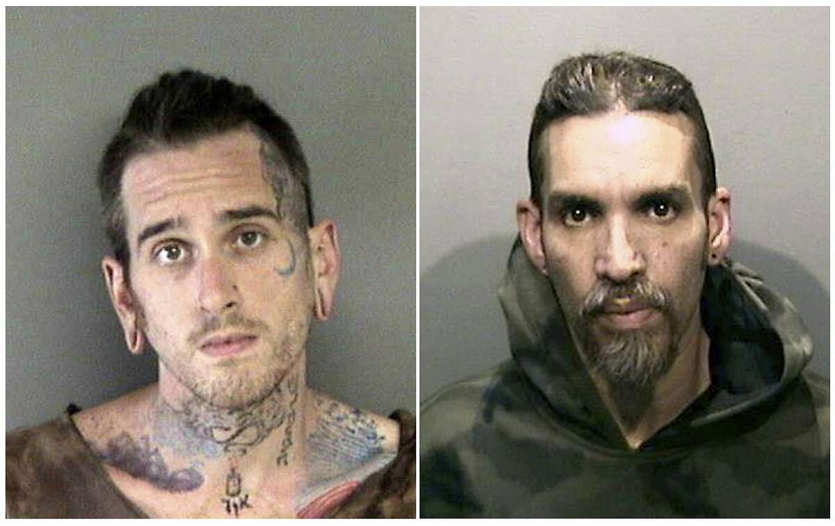 FILE - This combination of file June 2017 booking photos released by the Alameda County Sheriff's Office shows Max Harris, left, and Derick Almena, at Santa Rita Jail in Alameda County, Calif. Harris and Almena, the two men charged with involuntary manslaughter for the 2016 warehouse blaze that killed three dozen partygoers, will face trial in Oakland early next year. (Alameda County Sheriff's Office via AP, File)