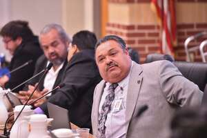 Harlandale ISD Superintendent Rey Madrigal makes a point during a recent board meeting.
