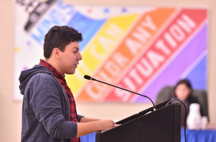 Harlandale High School Senior Robert Hernandez speaks during a recent Harlandale ISD Board meeting to try to persude the board to relax the district dress codes. That board is now threatened with TEA intervention according to a leaked report. Photo: Robin Jerstad /Contributor /San Antonio Express News / ROBERT JERSTAD