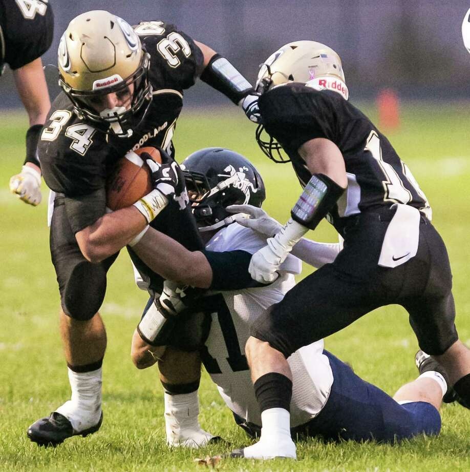 (John Vanacore/For Hearst Connecticut Media) Woodland Hawks  hosted the Ansonia Chargers Friday evening in a battle of unbeaten teams Friday evening. Ansonia defeated Woodland  36-20 Photo: John Vanacore/For Hearst Connect, John Vanacore/For Hearst Connecticut Media / (C)John H.Vanacore