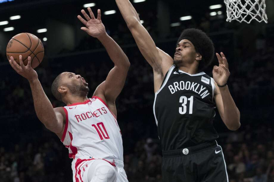 Houston Rockets guard Eric Gordon (10) goes to the basket against Brooklyn Nets center Jarrett Allen (31) during the first half of an NBA basketball game, Friday, Nov. 2, 2018, in New York. (AP Photo/Mary Altaffer) Photo: Mary Altaffer/Associated Press