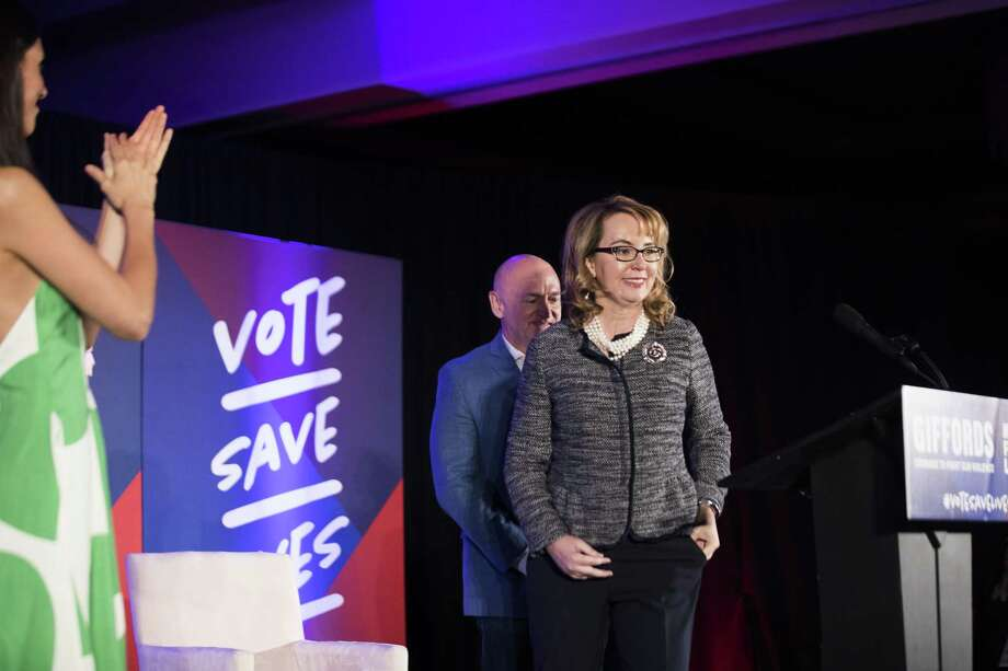 Shooting victim and former Rep. Gabrielle Giffords who has partner up with March for Our Lives, arrives with her husband, NASA astronaut Mark Kelly to Hilton University of Houston to energize constituents to vote, Friday, Nov. 2, 2018, in Houston. Photo: Marie D. De Jesús, Houston Chronicle / Staff Photographer / © 2018 Houston Chronicle