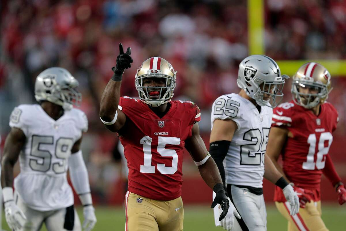Pierre Garcon (15) gestures the first down after his first quarter reception as the San Francisco 49ers played the Oakland Raiders at Levi's Stadium in Santa Clara, Calif., on Thursday, November 1, 2018.