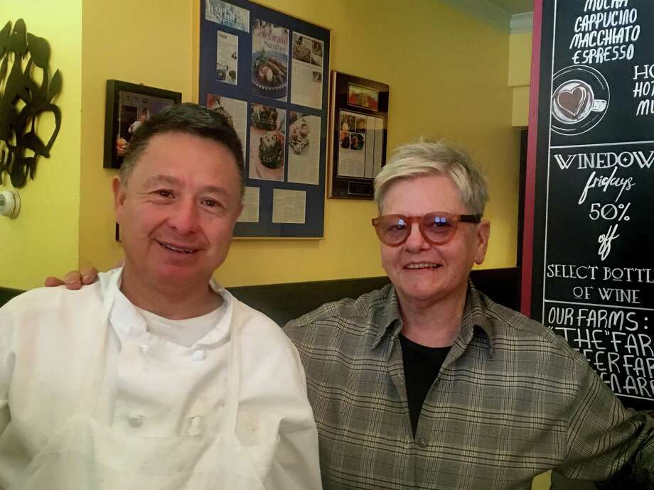 Carole Peck with head chef Delfoe Fajardo. Good News Restaurant and Bar is celebrating 25 years of serving Litchfield County with a gala anniversary party. Photo: Good News Restaurant And Bar / Contributed Photos