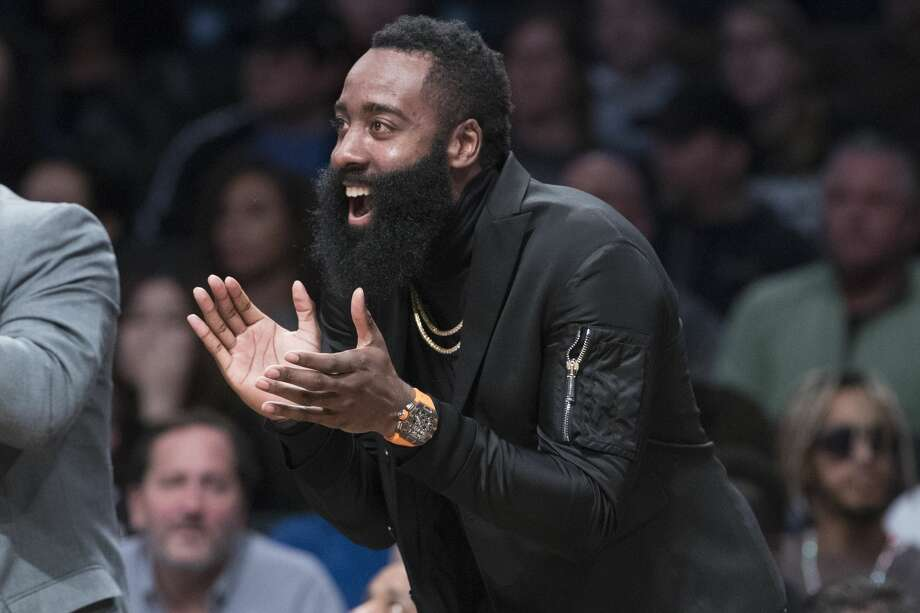 Houston Rockets guard James Harden reacts from the bench during the second half of an NBA basketball game against the Brooklyn Nets, Friday, Nov. 2, 2018, in New York. (AP Photo/Mary Altaffer) Photo: Mary Altaffer/Associated Press