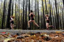Class B division runners in the Section II Cross Country Championships head out of the woods at Saratoga Spa State Park on Friday, Nov. 2, 2018, in Saratoga Springs, N.Y. (Will Waldron/Times Union)