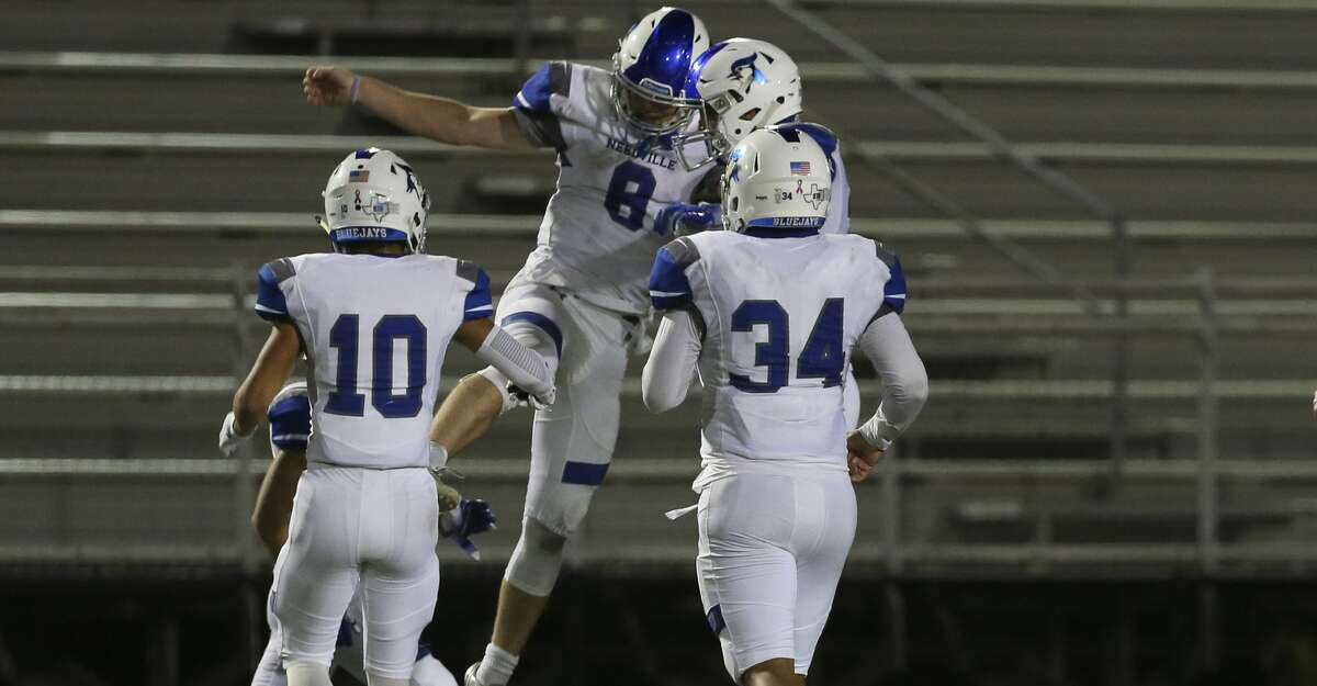 Needville 14, Brazosport 13 Needville Blue Jays' quarterback Kenny Hrncir (8) and teammates celebrate during the second half of the game against Brazosport Exporters at Hopper Field on Friday, Nov. 2, 2018, in Freeport. The Needville Blue Jays defeated the Brazosport Exporters 14-13.