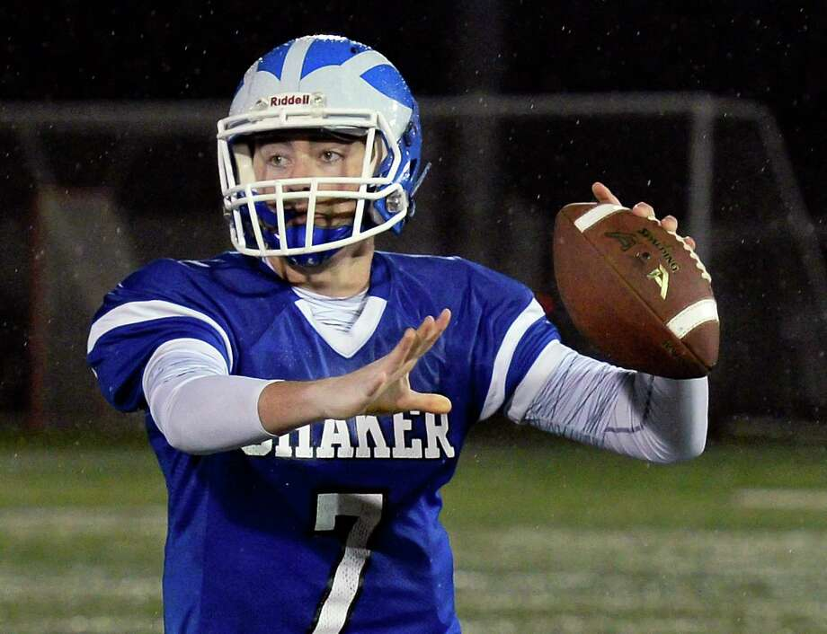 Shaker quarterback Connor McHugh lets loose a pass during their Class AA Super Bowl game against Saratoga High at Casey Stadium Friday Nov. 2, 2018 in Albany, NY.  (John Carl D'Annibale/Times Union) Photo: John Carl D'Annibale / 40045316A