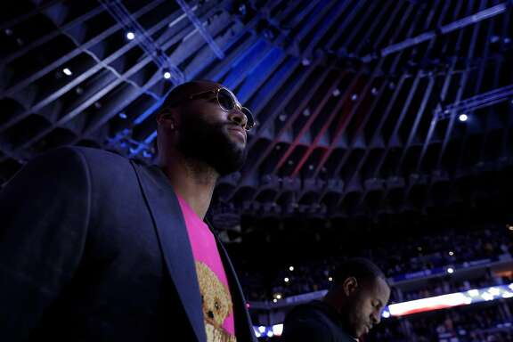 DeMarcus Cousins during the national anthem before the Golden State Warriors played the New Orleans Pelicans at Oracle Arena in Oakland, Calif., on Wednesday, October 31, 2018.