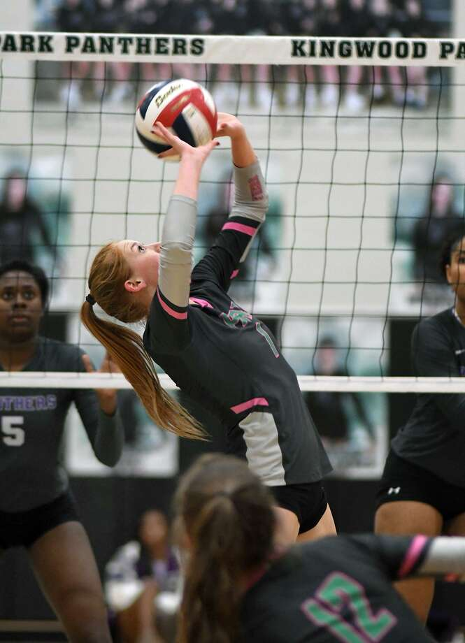 Kingwood Park senior middle blocker Katey Searcy makes a play against Ridge Point in their playoff tune-up match at Kingwood Park High School on Oct. 26, 2018. Photo: Jerry Baker, Houston Chronicle / Contributor / Houston Chronicle