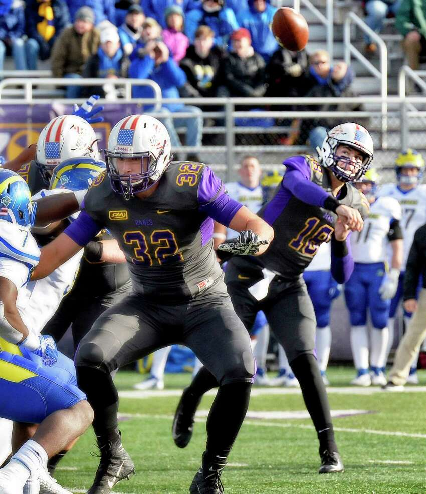 UAlbany QB Jeff Undercuffler lets loose a pass protected by #32 Greig Stire during Saturday's Colonial Athletic Association game against Delaware Nov. 3, 2018 in Albany, NY. (John Carl D'Annibale/Times Union)