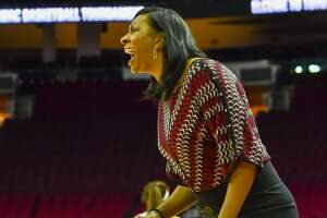 HOUSTON, TX - MARCH 11: Texas Southern Lady Tigers head coach Johnetta Hayes-Perry yells instructions to her defense during the SWAC Basketball Tournament Championship game between Grambling State and Texas Southern on March 11, 2017 at the Toyota Center in Houston, Texas. (Photo by Ken Murray/Icon Sportswire via Getty Images)