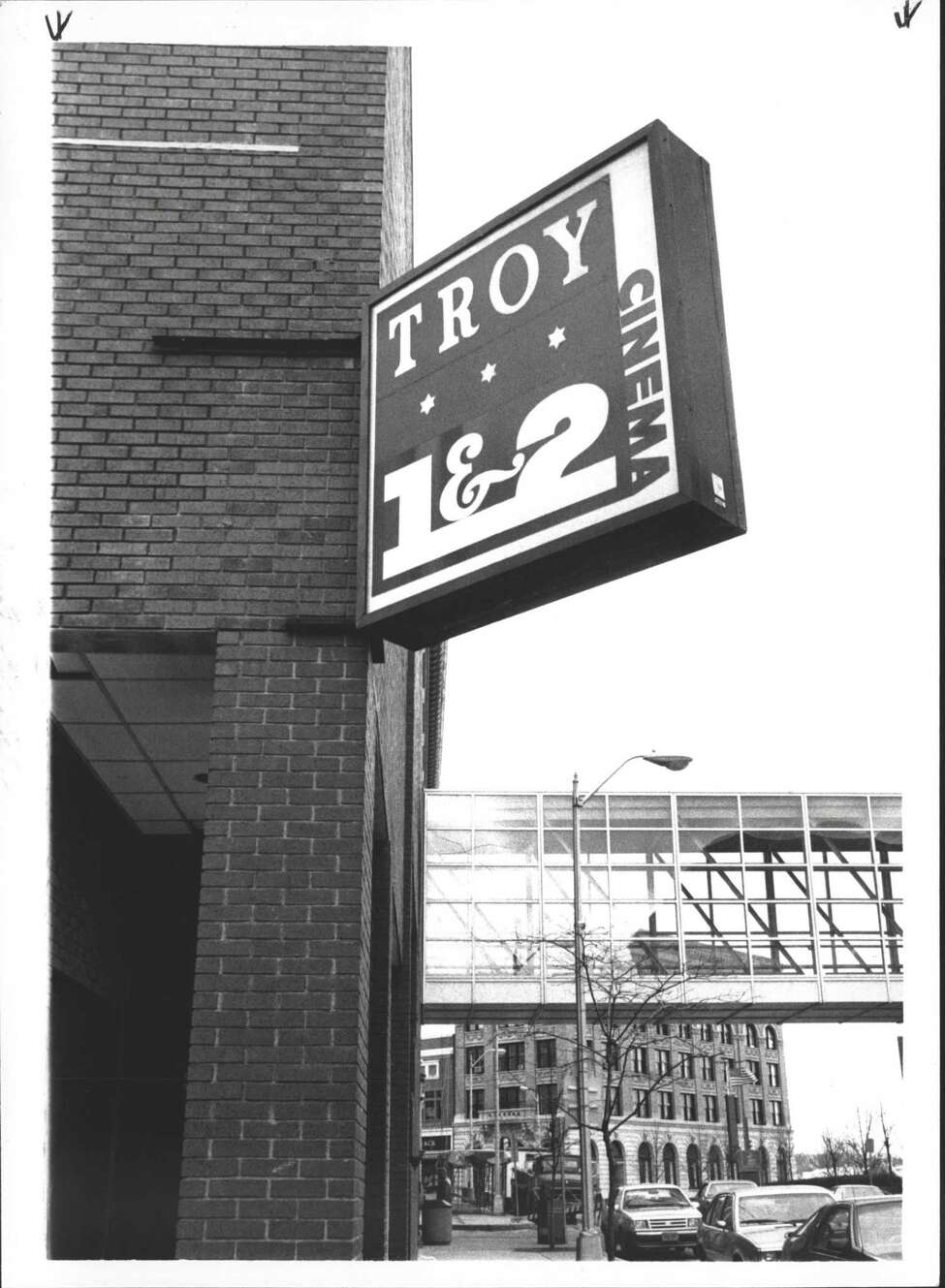 Troy Cinema, Troy Theaters, New York. Sign on Atrium Building. April 10, 1986 (Roberta Smith/Times Union Archive)