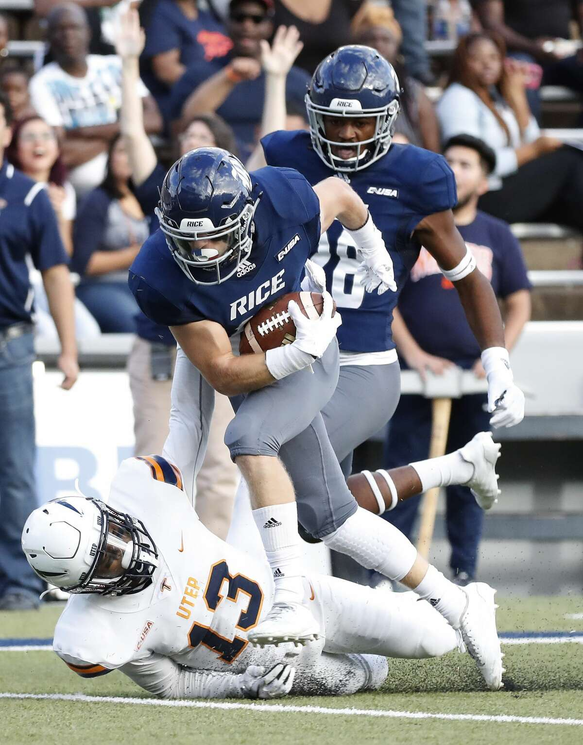 Rice Owls wide receiver Austin Trammell (10) catches a pass that he ran in for a touchdown during the fourth quarter of a college football game at Rice Stadium, Saturday, Nov. 3, 2018, in Houston.