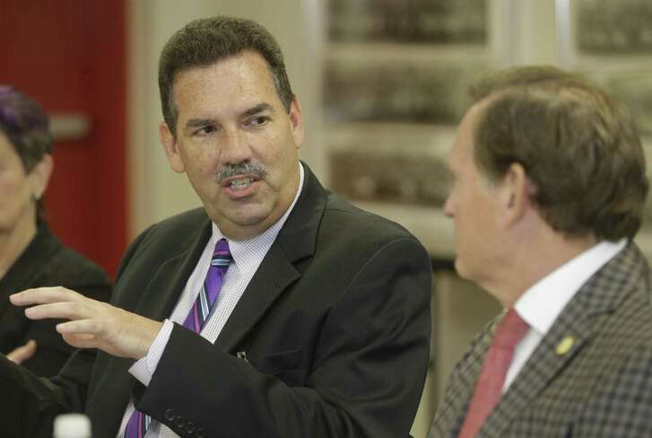 Scott Muri, Spring Branch ISD superintendant, left, and Texas House of Representatives John Zerwas, Chairman of the House Appropriations Committee, center, right, are shown during a discussion at Memorial High School, 935 Echo Ln., Wednesday, Oct. 31, 2018, in Houston. Service groups and nonprofits have gotten an influx of calls since the Santa Fe High School shooting in May asking for additional resources and roving counselors to help students with mental health issues.