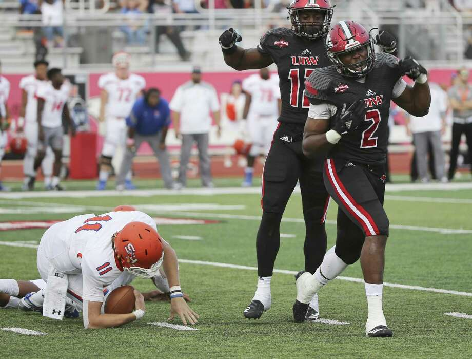 University of Incarnate Word's Justin Alexandre (02) reacts after sacking Sam Houston State quarterback Ty Brock (11) in the third quarter during their football game at Benson Stadium at UIW on Saturday, Nov. 3, 2018. (Kin Man Hui/San Antonio Express-News) Photo: Kin Man Hui, Staff Photographer / San Antonio Express-News / ©2018 San Antonio Express-News