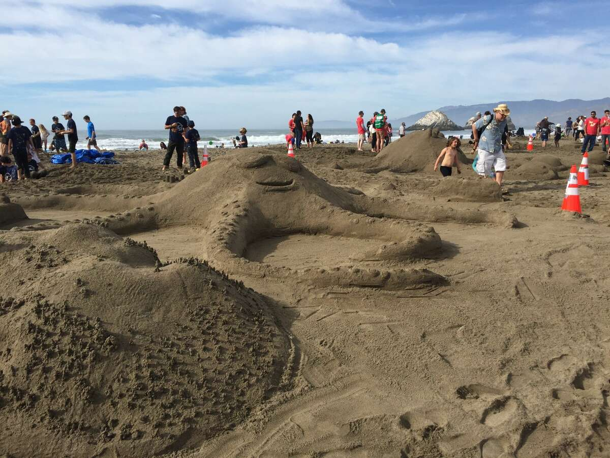 Participants work on their creations at the 2018 Sandcastle Classic at Ocean Beach in San Francisco. The event, held on Nov. 3, is the biggest sand castle competition in Northern California.