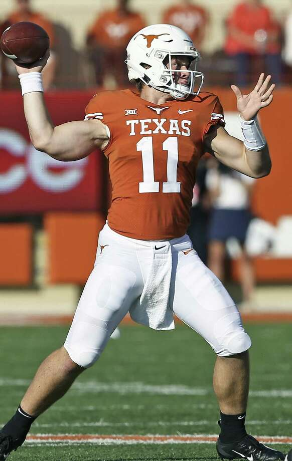 Sam Ehlinger passes in the first half as Texas hosts West Virginia at DKR Stadium on November 3, 2018. Photo: Tom Reel, Staff / Staff Photographer / 2017 SAN ANTONIO EXPRESS-NEWS