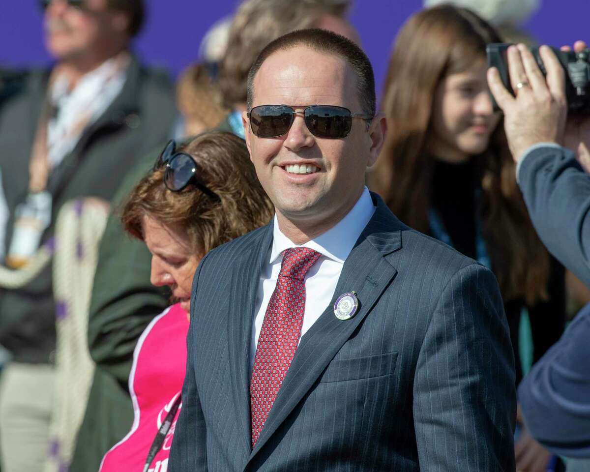 Trainer Chad Brown, is all smiles after Sistercharlie won the 35th running of the Breeders' Cup Filly and Mare Turf Nov 3, 2018 at Churchilll Downs in Louisville, KY (Skip Dickstein/Times Union)