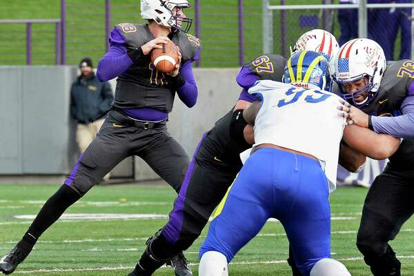 UAlbany QB Jeff Undercuffler looks for a receiver during Saturday's Colonial Athletic Association game against Delaware Nov. 3, 2018 in Albany, NY. (John Carl D'Annibale/Times Union)