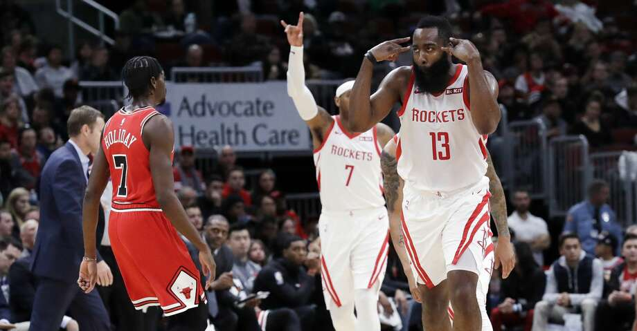 Houston Rockets guard James Harden (13) reacts after scoring a basket during the second half of an NBA basketball game against the Chicago Bulls, Saturday, Nov. 3, 2018, in Chicago. The Rockets won 96-88. (AP Photo/Nam Y. Huh) Photo: Nam Y. Huh/Associated Press