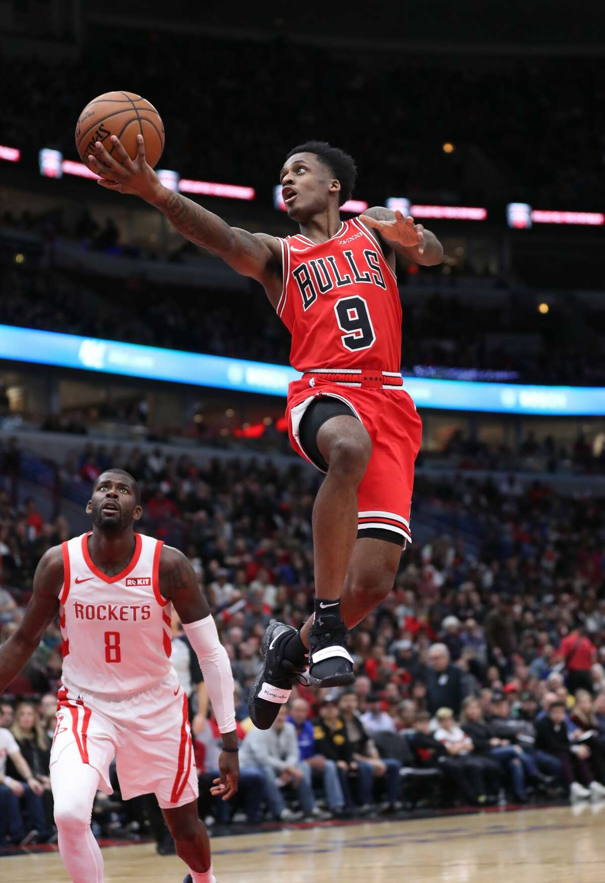 Chicago Bulls guard Antonio Blakeney (9) rises for a basket in the second quarter against the Houston Rockets at the United Center Saturday, Nov. 3, 2018, in Chicago. The Rockets beat the Bulls 96-88. (John J. Kim/Chicago Tribune/TNS)