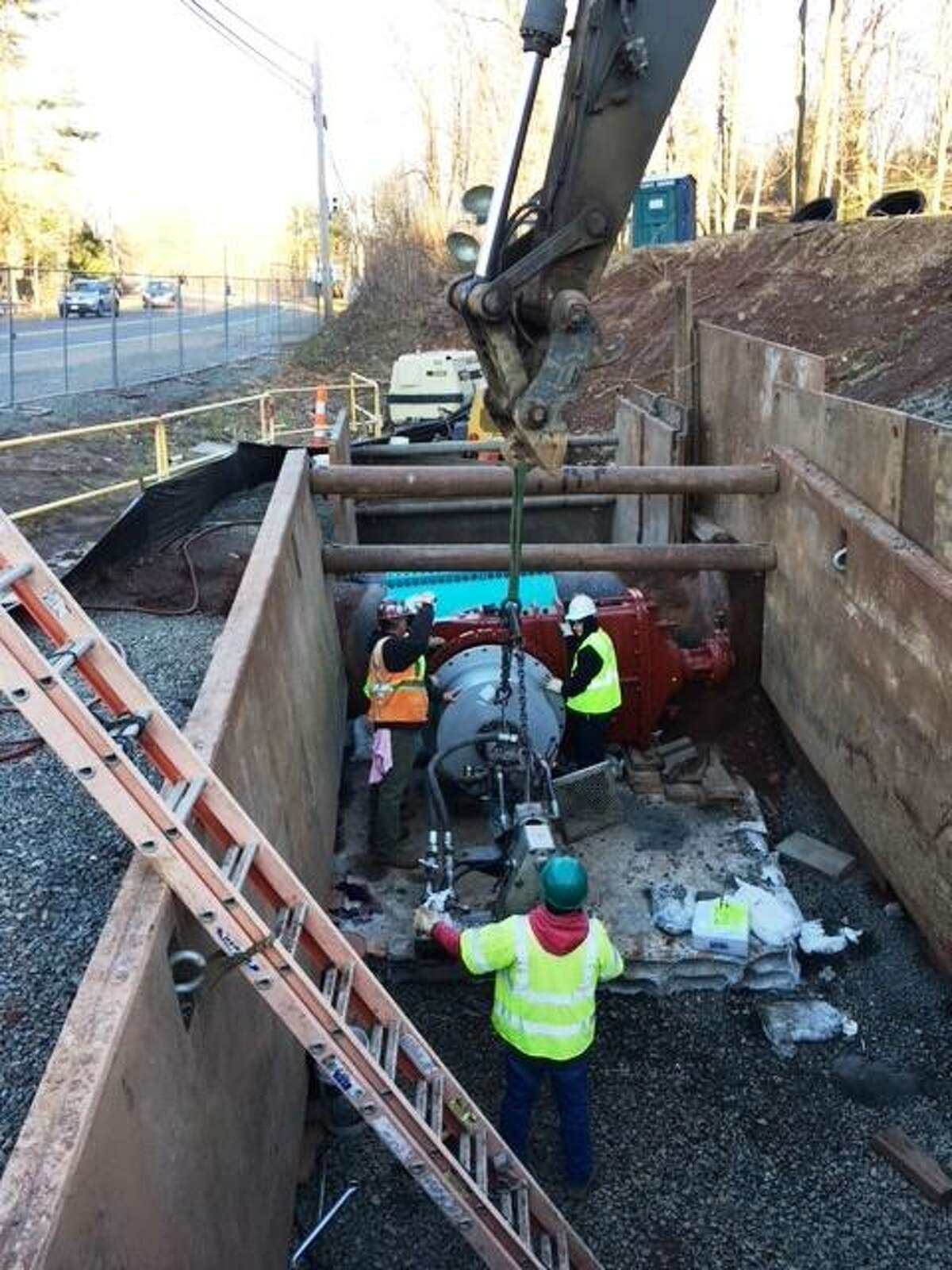 Contractors working for the Regional Water Authority repair a section of the tunnel and pipe system that brings water from Lake Galliard, the utility's largest reservoir, to a treatment facility in North Branford. The project, which cost nearly $15 million to complete, was done earlier this year.