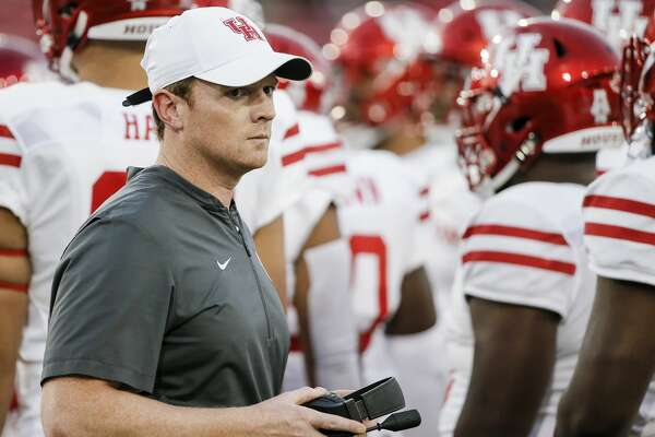 Houston head coach Major Applewhite looks on during the first half of an NCAA college football game against SMU, Saturday, Nov. 3, 2018, in Dallas. (AP Photo/Brandon Wade)