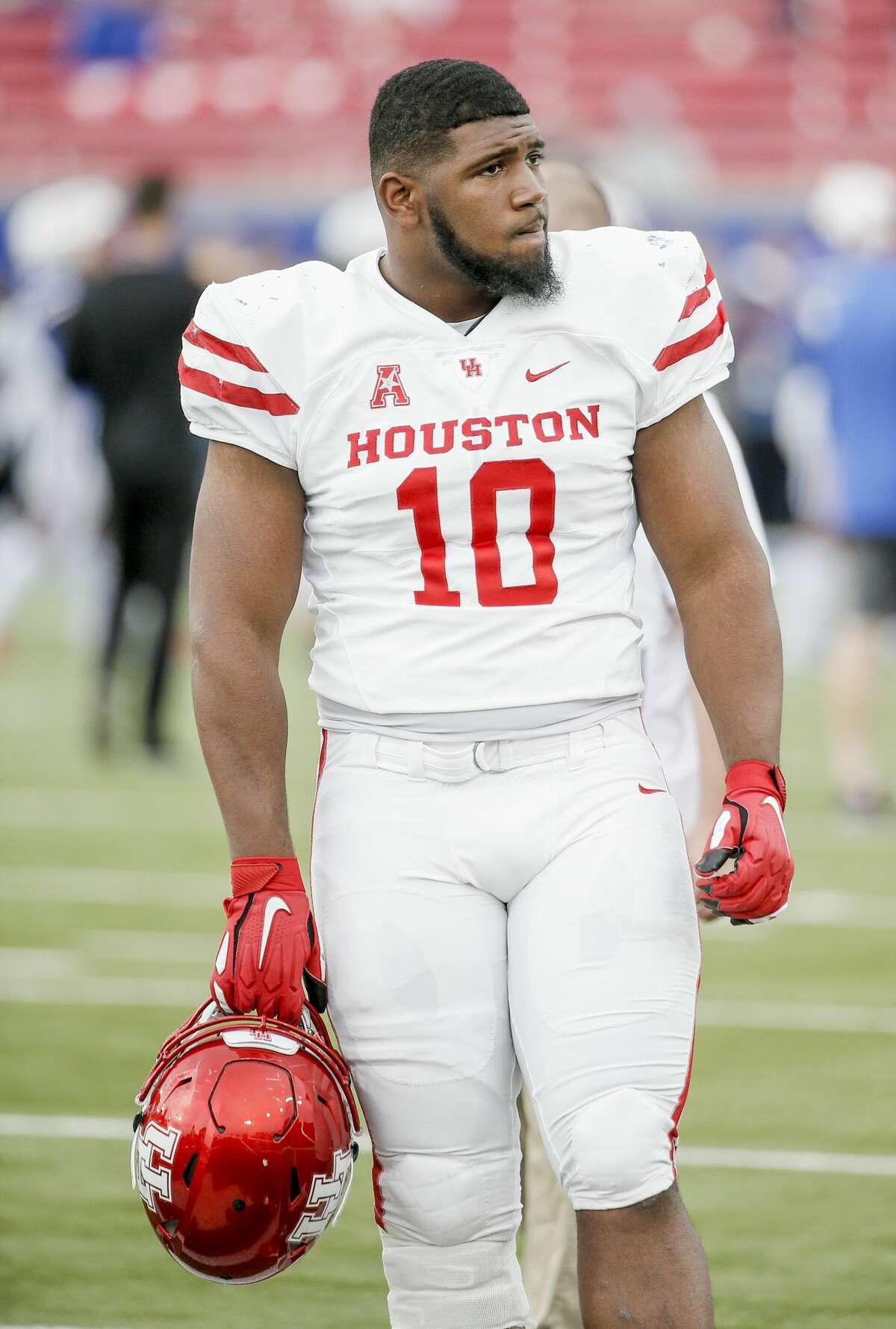Houston defensive tackle Ed Oliver (10) during warmups before an NCAA college football game against Houston, Saturday, Nov. 3, 2018, in Dallas. (AP Photo/Brandon Wade)