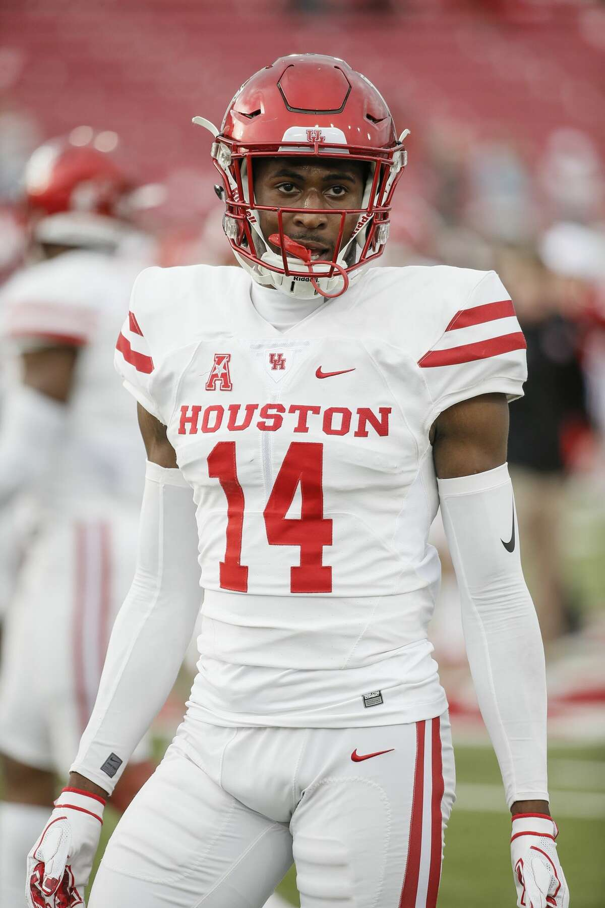 Houston cornerback Isaiah Johnson (14) during warmups before an NCAA college football game against Houston, Saturday, Nov. 3, 2018, in Dallas. (AP Photo/Brandon Wade)