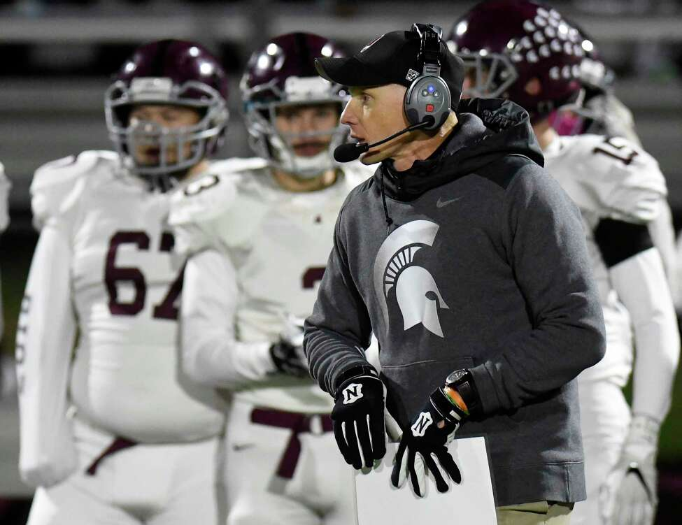 Burnt Hills-Ballston Lake head coach Matt Shell instructs his players against Queensbury during the first half of a Section II Class A High School Super Bowl football game Saturday, Nov. 3, 2018, in Clifton Park, N.Y. (Hans Pennink / Special to the Times Union)