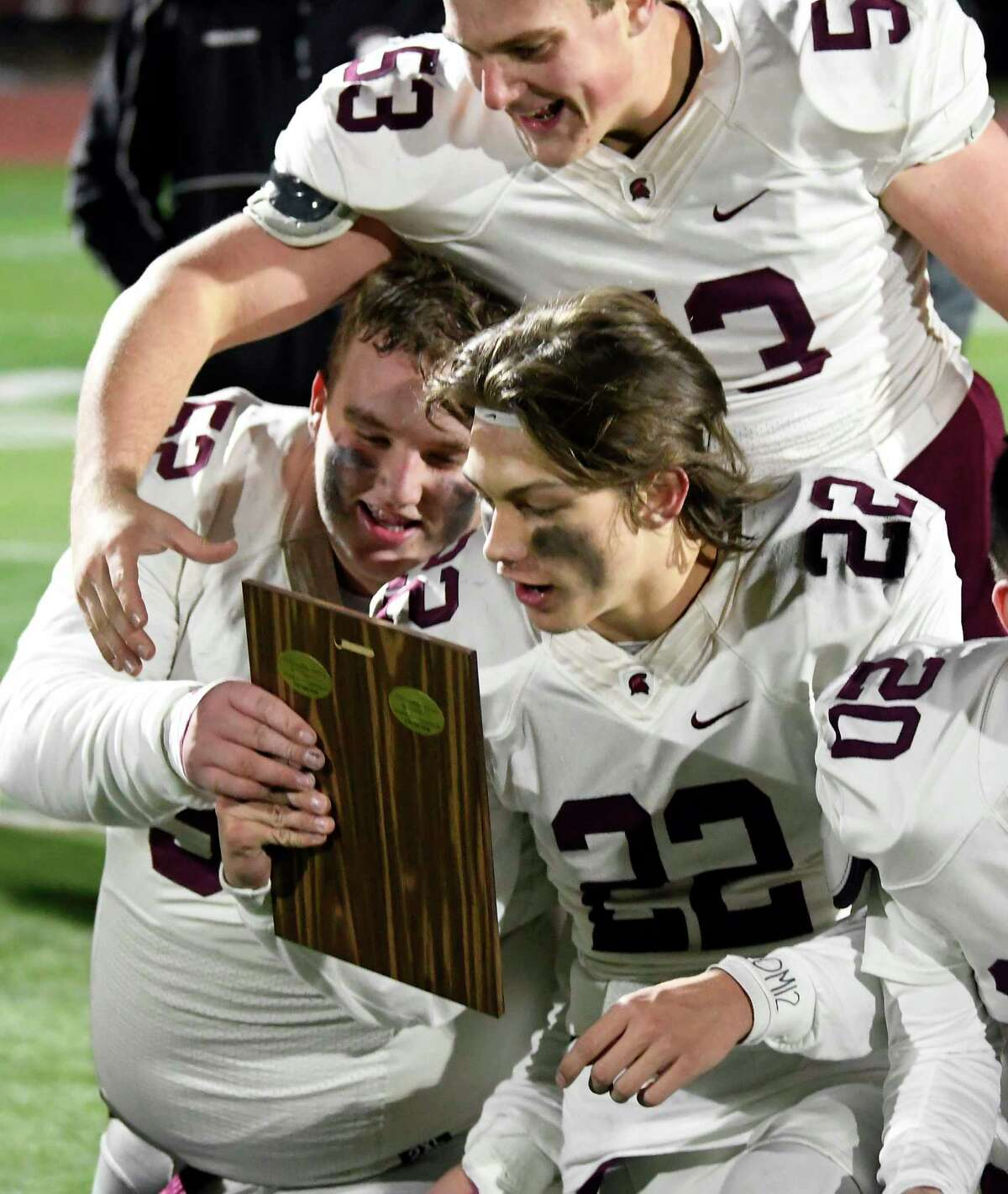 Burnt Hills-Ballston Lake players celebrate a 21-16 win against Queensbury during a Section II Class A High School Super Bowl football game Saturday, Nov. 3, 2018, in Clifton Park, N.Y. (Hans Pennink / Special to the Times Union)