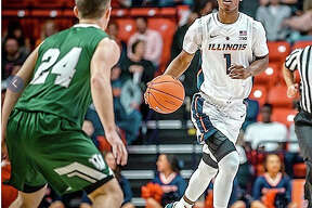 Trent Frazier of Illinois (1) brings the ball upcourt against Illinois Wesleyan in an exhibition game Friday at the State Farm Center in Champaign. Frazier scored 19 points, including three 3-pointers, in his team's 83-67 victory.