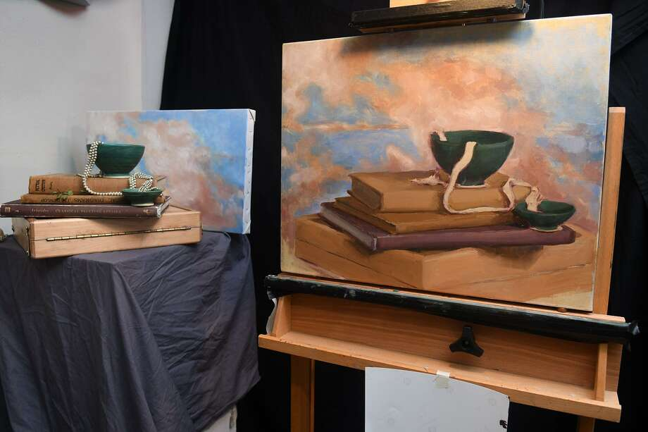 "Alice Palmer's still life, done in oils, was on display at the ""Shades of Autumn Art Show"" hosted by The Purple Elephant Art Community in Cypress on Nov. 3, 2018. Photo: Jerry Baker, Houston Chronicle / Contributor / Houston Chronicle"