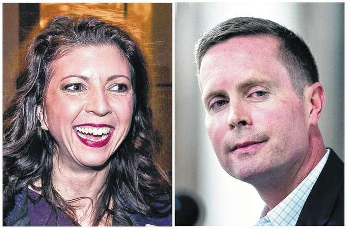 Democrat Betsy Dirksen Londrigan (left) and incumbent Republican U.S. Rep. Rodney Davis are the candidates in Illinois' 13th Congressional District race.