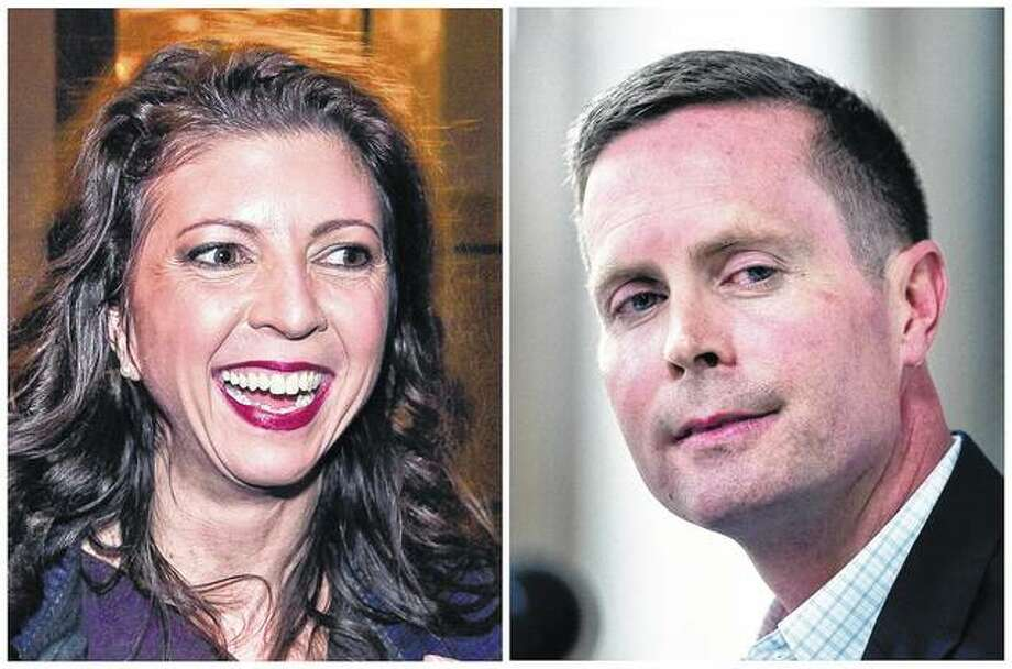 Democrat Betsy Dirksen Londrigan (left) and incumbent Republican U.S. Rep. Rodney Davis are the candidates in Illinois' 13th Congressional District race. Photo: AP