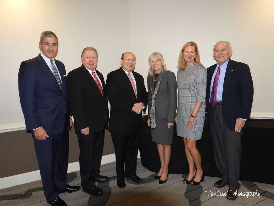 The 2018 Middlesex County Chamber of Commerce Small Business of the Year Awards were presented on Oct. 24. From left are Vice President of Business Services at Comcast Business Paul Savas, Chamber Chairman Jay Polke, Senior Analyst and Commentator at CNBC Ron Insana, Connecticut DECD Commissioner Catherine Smith, Vice President of Public Relations & Community Investment for Comcast Western New England, Kristen L. Roberts; and Chamber President Larry McHugh. Photo: Contributed Photo