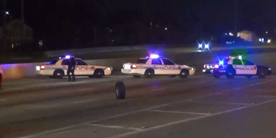 A police officer responding to an emergency call early Sunday crashed into another driver on North Loop, authorities said. Photo: Metro Video