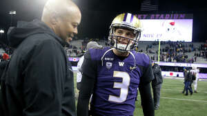 SEATTLE, WA - NOVEMBER 03: Head Coach David Shaw of the Stanford Cardinal and Jake Browning #3 of the Washington Huskies share a moment after the Washington Huskies defeated the Stanford Cardinal 27-23 during their game at Husky Stadium on November 3, 2018 in Seattle, Washington.  (Photo by Abbie Parr/Getty Images)