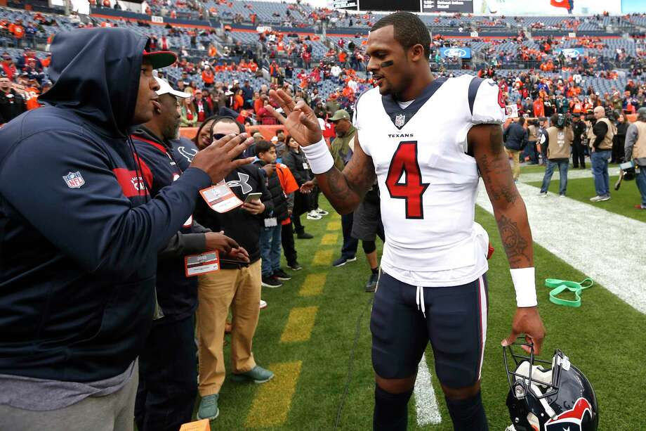 PHOTOS: Texans vs. Falcons Houston Texans quarterback Deshaun Watson (4) greets fans on the sidelines before an NFL football game against the Denver Broncos at Broncos Stadium at Mile High on Sunday, Nov. 4, 2018, in Denver. >>>See more photos from Deshaun Watson's historic performance against the Falcons on Sunday ... Photo: Brett Coomer, Staff Photographer / © 2018 Houston Chronicle