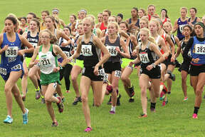 A group of runners, including Staunton's Lydia Roller in the middle of the pack, race just behind the early leaders in the opening quarter mile at the Class 1A girls state cross state meet Saturday morning at Detweiller Park in Peoria.
