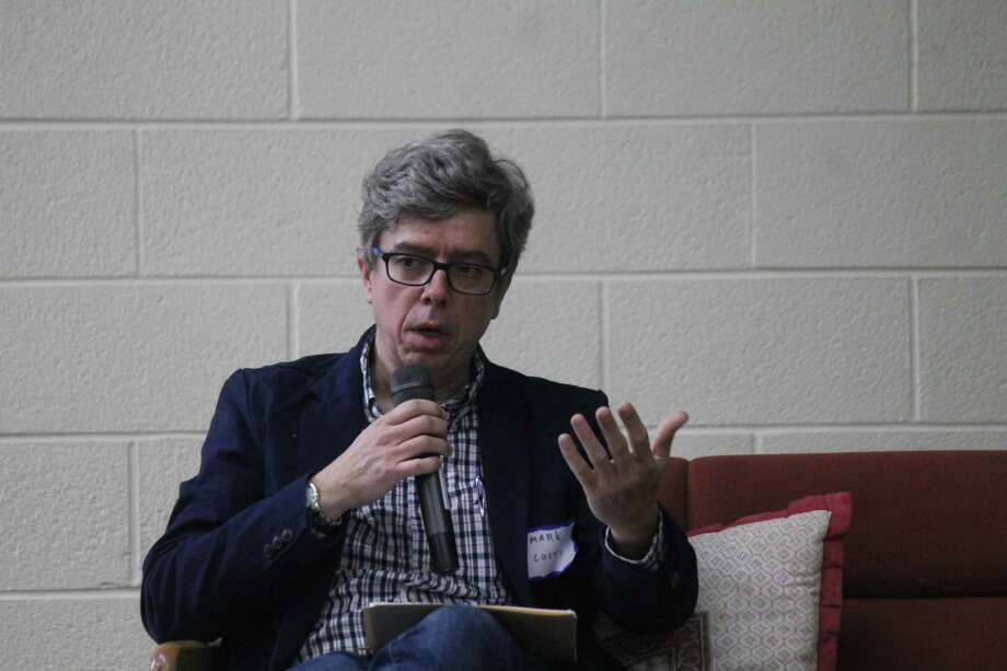 Mark Costa, psychiatrist and associate research scientist with the Yale Program for Recovery and Community Health, speaks during a Unitarian Society of New Haven symposium. Photo: Valerie Bannister