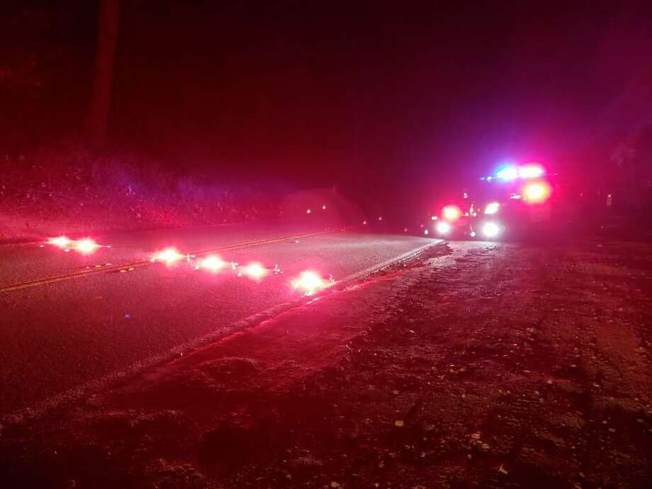CHP officers in Santa Cruz closed SR-9 late Saturday night due to a fire that was moving through the Santa Cruz mountains and continued into the daytime Sunday. Photo: Courtesy CHP Santa Cruz