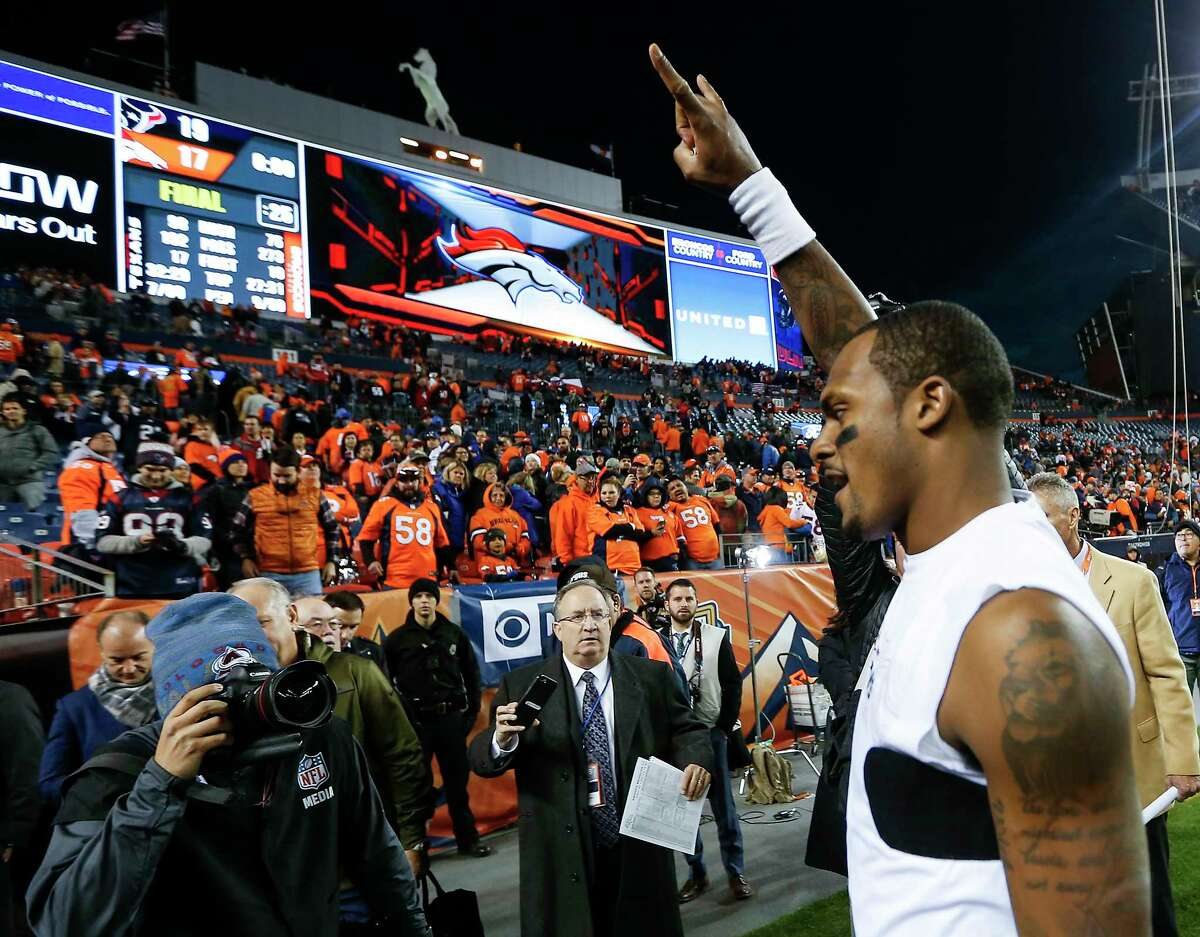 Houston Texans quarterback Deshaun Watson celebrates the Texans 19-17 win over the Denver Broncos in an NFL football game at Broncos Stadium at Mile High on Sunday, Nov. 4, 2018, in Denver.