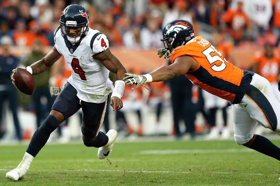 Houston Texans quarterback Deshaun Watson (4) is chased out of the pocket by Denver Broncos outside linebacker Bradley Chubb (55) during the fourth quarter of an NFL football game at Broncos Stadium at Mile High on Sunday, Nov. 4, 2018, in Denver.
